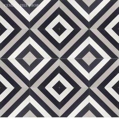 Dining and/or entry:  Cement Tile Shop - Encaustic Cement Tile Ligne Brisse Black