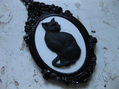 Black Cat Cameo Necklace. $23.00, via Etsy.