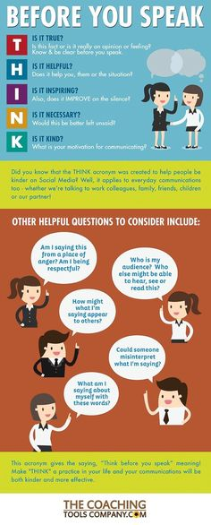 This THINK acronym and infographic helps us communicate more kindly with others. Originally the THINK acronym was created to help reduce online bullying Communication Interpersonnelle, Interpersonal Communication, Business Communication Skills, Communication Activities, Effective Communication Skills, Cultura General, Conflict Resolution, Good Listener, Social Skills
