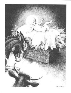 1937 Animals Manger Print Dorothy Lathrop Nativity Baby Jesus Birth Christmas story Biblical print Art Deco Vintage Christian art