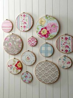 Embroidery hoops filled with your favourite wallpaper, wrapping paper or fabric make a great feature wall.