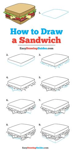 Drawing Doodle Easy - Learn to draw a tasty sandwich. This step-by-step tutorial makes it easy. Kids and beginners alike can now draw a great looking sandwich. Food Drawing Easy, Easy Drawing Tutorial, Drawing For Kids, Drawing Tips, Drawing Ideas, Learn Drawing, Doodle Drawings, Easy Drawings, Doodle Art