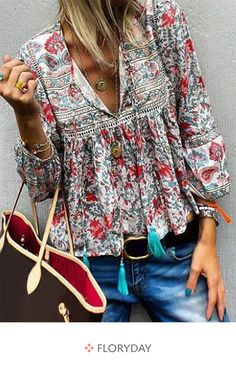 heyjue Floral Red Green Yellow Purple Blue Women Blouses&shirts Vintage Polyester V Neck Long Sleeve Party Blouses&shirts – Heyjue Blouse Col V, V Neck Blouse, Linen Blouse, Linen Pants, Tops Boho, Womens Boho Tops, Boho Fashion, Womens Fashion, Fashion Design