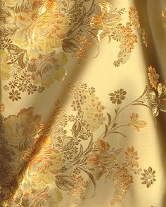 Buythepiece.com--$8.99--Fashion Fabric, Chinese Brocade - Vintage Floral Gold
