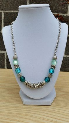 Silver blue and mint green necklace/ Silver and by ILoveBeads247