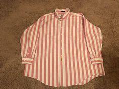 Mens Size Big 3XL BD Baggies Red White Stripe Long Sleeve Button Front Shirt EUC  | eBay