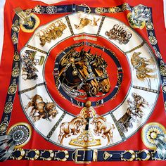 Authentic Hermes Silk Scarf Chevaux De Trait Mint Condition