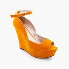 Velvet Ankle Strap Wedges