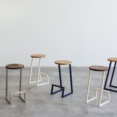 Corktown is a minimal bar stool with a base stand made from one continuous piece of geometrically bent powder-coated steel.
