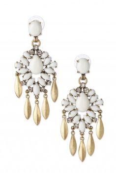 White & Crystal Stone Chandelier Earrings | Mallorca Chandeliers | www.stelladot.com/mindy