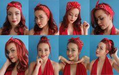 8 formas de usar bandana e arrasar no estilo Pin Up Bandana Hairstyles For Long Hair, Retro Hairstyles, Headband Hairstyles, Pin Up Hairstyles, Simple Hairstyles, Wedding Hairstyles, Cabello Pin Up, Ways To Wear Bandanas, Curly Hair Styles