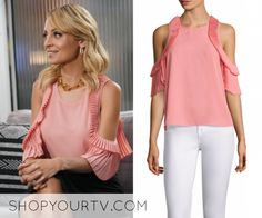 d47b66e311cdf Portia Scott-Griffith (Nicole Richie) wears this pink cold shoulder pleated  blouse in this episode of Great News