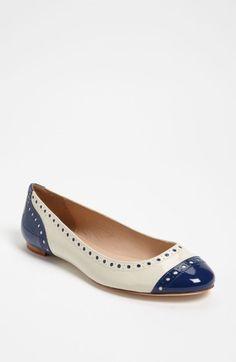 Kate Spade Tuttie Flat in Blue (cobalt/ cream patent) - Lyst