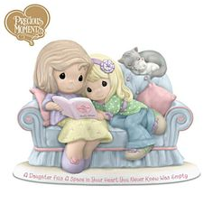 """""""A Daughter Fills A Space In Your Heart You Never Knew Was Empty"""" - Precious Moments Mother And Daughter Porcelain Figurine"""
