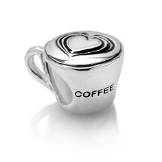 Chuvora Sterling Silver Love Coffee Cup Bead Charm Fits Pandora Bracelet