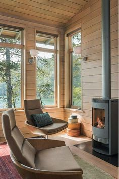 Modern Wooden House, Interior Decorating, Interior Design, Cabin Interiors, Fireplace Design, Architect Design, House In The Woods, My Dream Home, Beautiful Homes