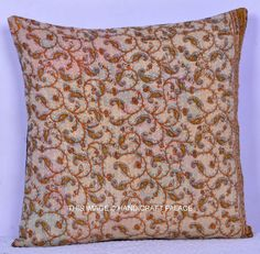 """16"""" KANTHA FLORAL EMBROIDERED PILLOW CUSHION COVER Throw Indian Ethnic Decor in Home & Garden, Home Décor, Pillows   eBay"""