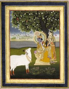 Kṛṣṇa and Rādhā seated beneath a tree and accompanied by a white cow. Rajasthan School, Jaipur Style, c.1800.