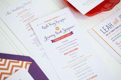 Orange Purple Chevron Stripe Wedding Invitations Ten Four Paper8 Leah + Jeremys Modern Chevron Stripe Wedding Invitations