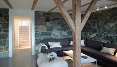 Image 6 of 16 from gallery of Store Lauvøya - Bestemorstua / Mikado Arkitektur. Photograph by Mika Meienberger Old Building, Living Spaces, Living Rooms, Slate, House Design, Rustic, Architecture, Gallery, Interior