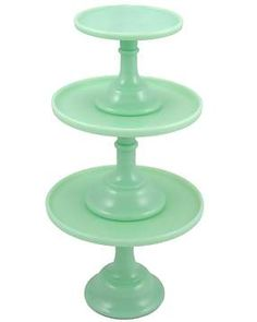 Milk Green Jadeite Glass Cake Plates. For the most stunning events.