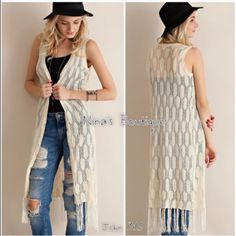 Long vest is all the rage for spring Long knitted best can be worn as a cover up or with any outfit for a touch of the boho look. Price is firm unless bundled. S(2/4) M(6/8) L(10/12) Tops