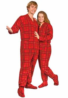 7788df5c73 Red Plaid Adult Footed Pajamas from The Snooze Shack! www.bergiesnyc.com  Mens
