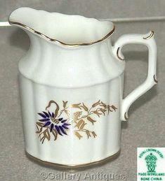Cut Glass, Glass Art, Royal Crown Derby, Milk Jug, Cobalt Blue, Vintage Silver, Flute, Stoneware, Floral Design