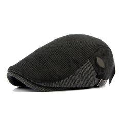 Unisex Cotton Knitted Beret Hat Knitting Buckle Adjustable Paper Boy Newsboy Cabbie Gentleman Cap
