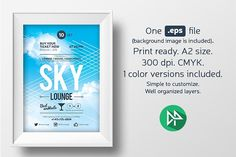 Sky lounge poster template by EDT.im on @creativemarket