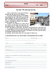 English worksheet: Guided writing: my town/city/village
