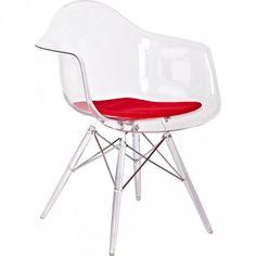 fauteuil transparent assise Tissu rouge inspiré DSW