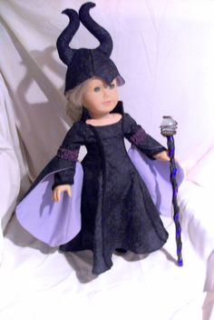 "Disney Inspired Maleficent outfit from the movie ""Maleficent"" for American Girl 18 inch Dolls,Disney character,Handcrafted Doll Clothing"