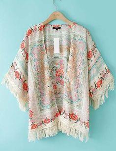 ROMWE Tassels Floral Print Loose Kimono 16.90 Loved and repinned by Hattie Reegan's www.etsy.com/shop/hattiereegans