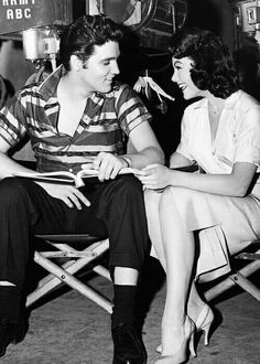Elvis and Judy Tyler on the set of 'Jailhouse Rock', 1957.    After Judy Tyler died in a tragic car accident just a few days after filming completed, Elvis refused to watch Jailhouse Rock again. (Embedded in my Soul)
