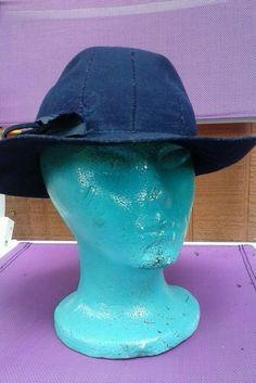 Vintage Kerry Brooke wool HAT bucket clochet millinery Midnight  Blue mint #Cloche