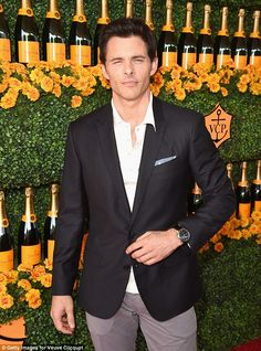 Looking sharp: 27 Dresses actor James Marsden looked dapper in a mix and match suit