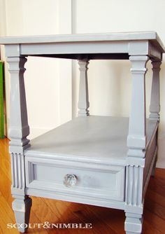 Painted & Distressed End Tables - Annie Sloan's Chalk Paint in Paris Grey I could see turning this into a princess bed for a doll and using it as a night stand in a little girls room. Furniture Fix, Refurbished Furniture, Repurposed Furniture, Shabby Chic Furniture, Furniture Makeover, Painted Furniture, Furniture Ideas, Furniture Refinishing, Distressed End Tables