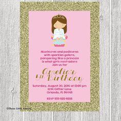 Spa Princess Birthday Invitation - Pink and Gold Glitter