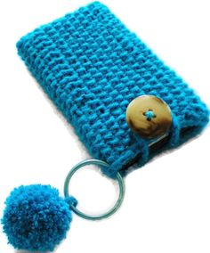 Shimmering Turquoise Hand KnitPhone Case iPhone, iPod Touch/Smartphone Cozy Handmade, Case Holder Blue Green Aqua Teal Azure Sleeve Keychain