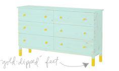 DIY Seafoam Ikea Tarva Dresser hack ideas; gold-dipped legs