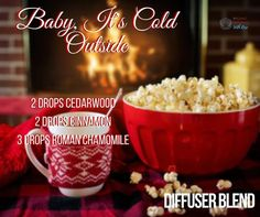 Cuddle up with some popcorn a warm blanket and turn on your diffuser because baby it's cold outside!!! #essentialoils #diffuserblend