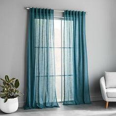 west elm Sheer Crosshatch Curtains (Set of - Mineral Blue Teal Curtains, Striped Curtains, Sheer Curtains, Blackout Curtains, Curtains Living, Frame Wall Decor, Frames On Wall, French Country Living Room, Curtain Sets