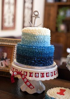 Baby Boy Birthday Cake Blue Nautical Theme New Ideas - Birthday Cake Blue Ideen Baby Shower Cakes For Boys, Baby Boy Cakes, Baby Boy Shower, Nautical Baby Shower Cakes, Baby Boy Birthday Cake, First Birthday Cakes, Birthday Parties, Birthday Ideas, Nautical Cake