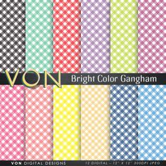 "Gingham digital paper: ""BRIGHT COLOR GINGHAM"" with stripes crosshatch patterns in bright colors linen patterns gingham scrapbooking papers VonDigitalDesigns 2.00 USD"
