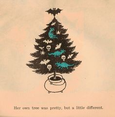 from The Witch's Christmas by Norman Bridwell. Next year I want to do a tree like this for Halloween. Halloween Trees, Halloween Christmas, Vintage Halloween, Halloween Art, Halloween Scene, Halloween Pictures, Dark Christmas, Christmas Art, Vintage Christmas
