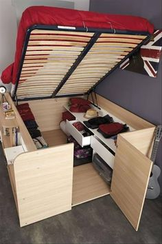 Parisot Space Up Bed and Storage, the Hidden Storage Bed. The hidden treasure of the Space Up bed is the hidden storage area underneath. Diy Storage Bed, Tiny House Storage, Bedroom Storage, Storage Hacks, Storage Solutions, Extra Storage, Hidden Storage, Storage Design, Creative Storage