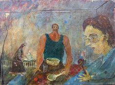 """Lunch with Hohloma Spoon. 10"""" x 14"""""""