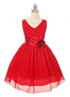 Nuevo Rojo Gasa Flor Niñas Vestido Pascua Navidad Fiesta Graduación MK1082