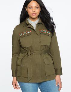 ce58d040a3 Embellished Military Jacket ANTIQUE OLIVE Urban Fashion Girls